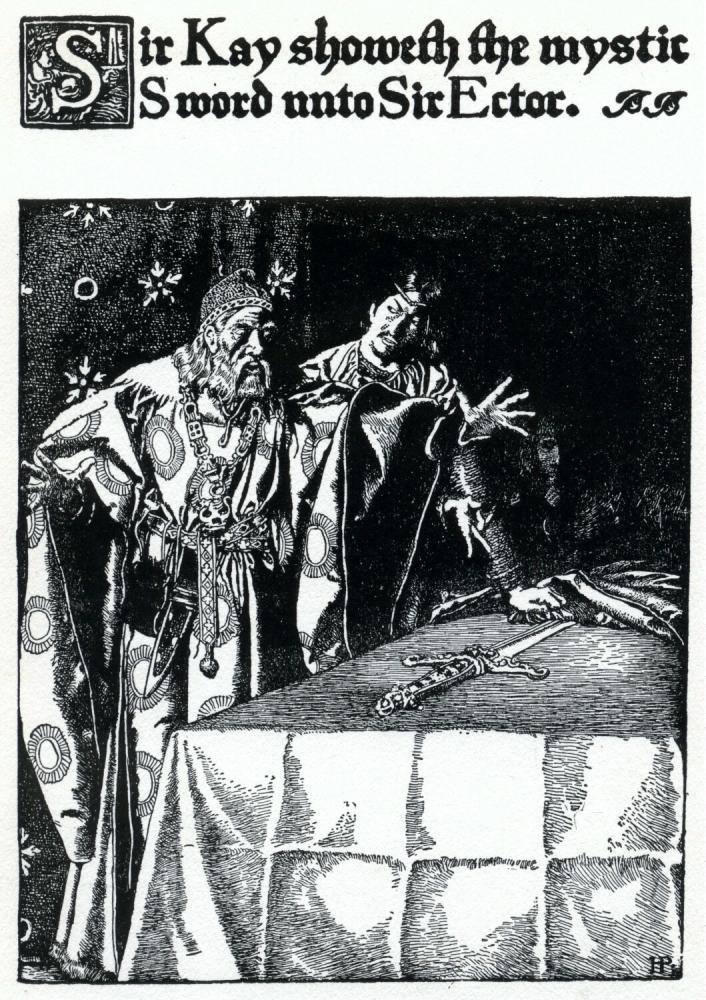 Sir Kay showeth the mystic sword unto Sir Ector.