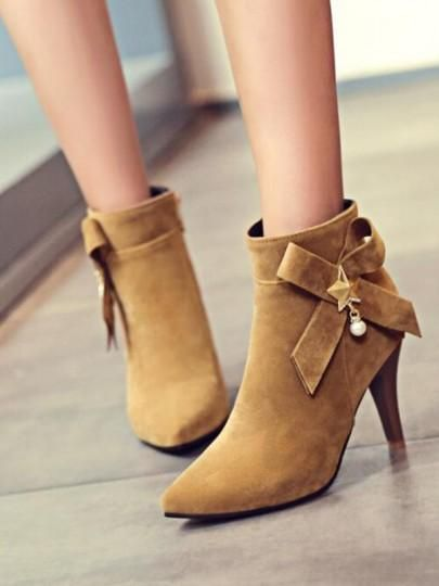 3acee1c2da06 Yellow Point Toe Stiletto Bow Pearl Fashion Ankle Boots in 2019 ...