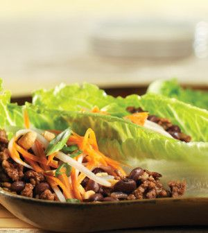 Just as satisfying as the Asian lettuce wraps on many restaurant menus, our clean version has far less salt and sugar. The vinegar-based quick-pickled slaw adds bright flavor and color.