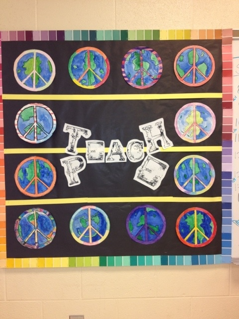 "I like how this teacher has used the words ""T-eac-H"" and ""P-eac-E"" together for her Peace bulletin board display."
