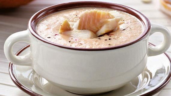 Тыквенный суп из копченой рыбы