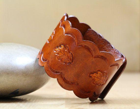 Oak Leaf Leather Bracelet  Oak Leaf Leather by TinasLeatherCrafts. Repin To Remember.