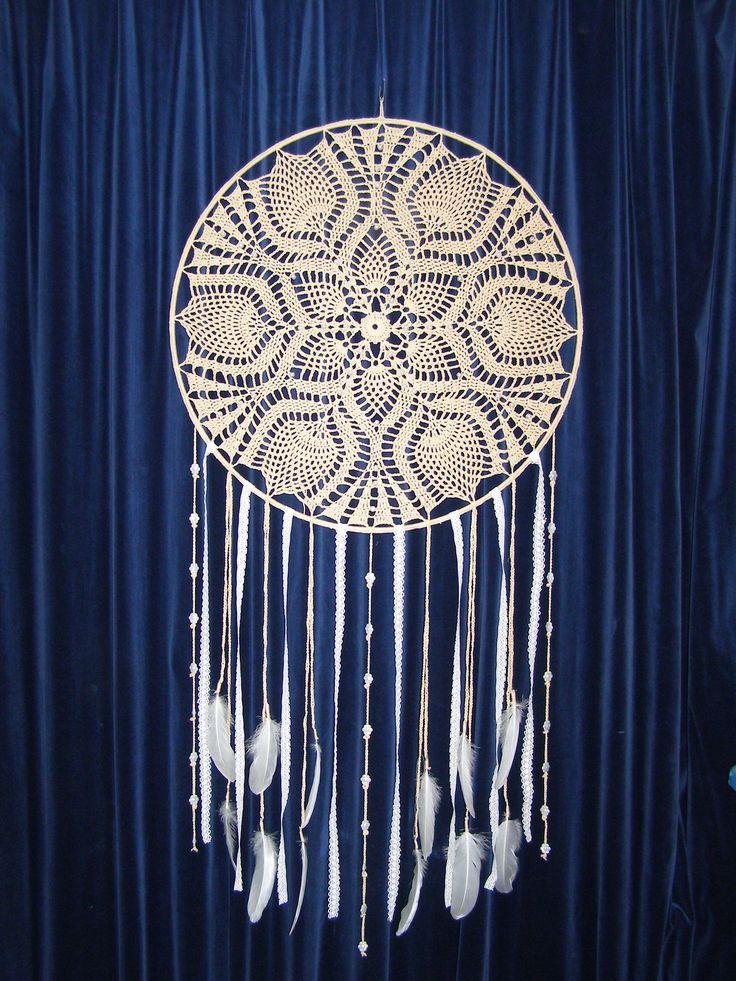 Grote dromenvanger met kralen, ring 61 cm, totale lengte 130 cm