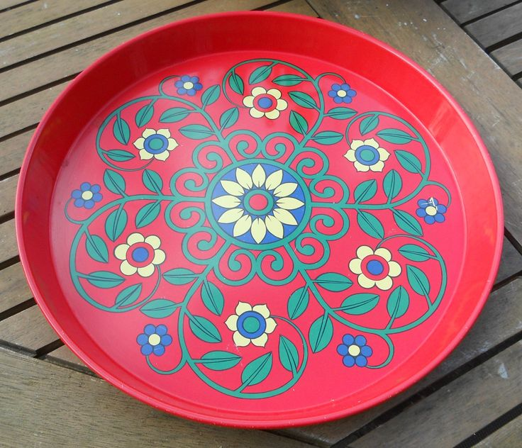 60s STYLE RED TIN TRAY WITH STYLISED FLOWERS ~ SOLD ON MY EBAY SITE LUBBYDOT1