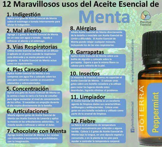 El aceite de menta es una de mis favoritas lo usó todos los días. Mydoterra.com/annasamano