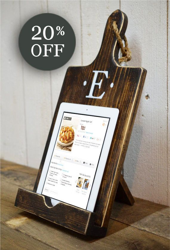 ★★★★CHRISTMAS SALE★★★★ LIMITED QUANTITY AT THIS PRICE  ►►ORDER TODAY FOR BEST PRICE BEFORE THE HOLIDAY RUSH◄◄  HANDMADE IN THE USA  Made of thick solid wood [No MDF or thin, flimsy plywood offered by cheaper competitors] iPad/Tablet and Cookbook Holder Personalized Monogram Select letter choice in dropdown menu Espresso Finish White Letter 18.75 tall x 9.25 wide x 3 deep Thick Solid Wood - No MDF or thin substitute Rustic rope detail Metal hinge on back to keep stand upright and sturdy Holds…