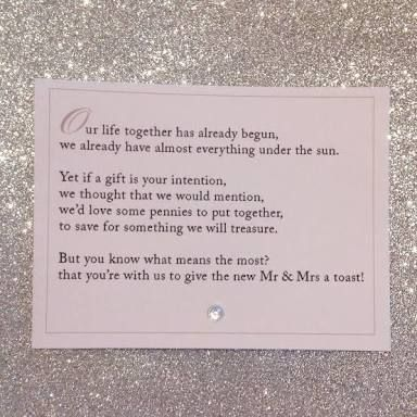 Short Poems For Wedding Gifts : wedding gift card honeymoon donationGoogle Search Felicias weddng ...