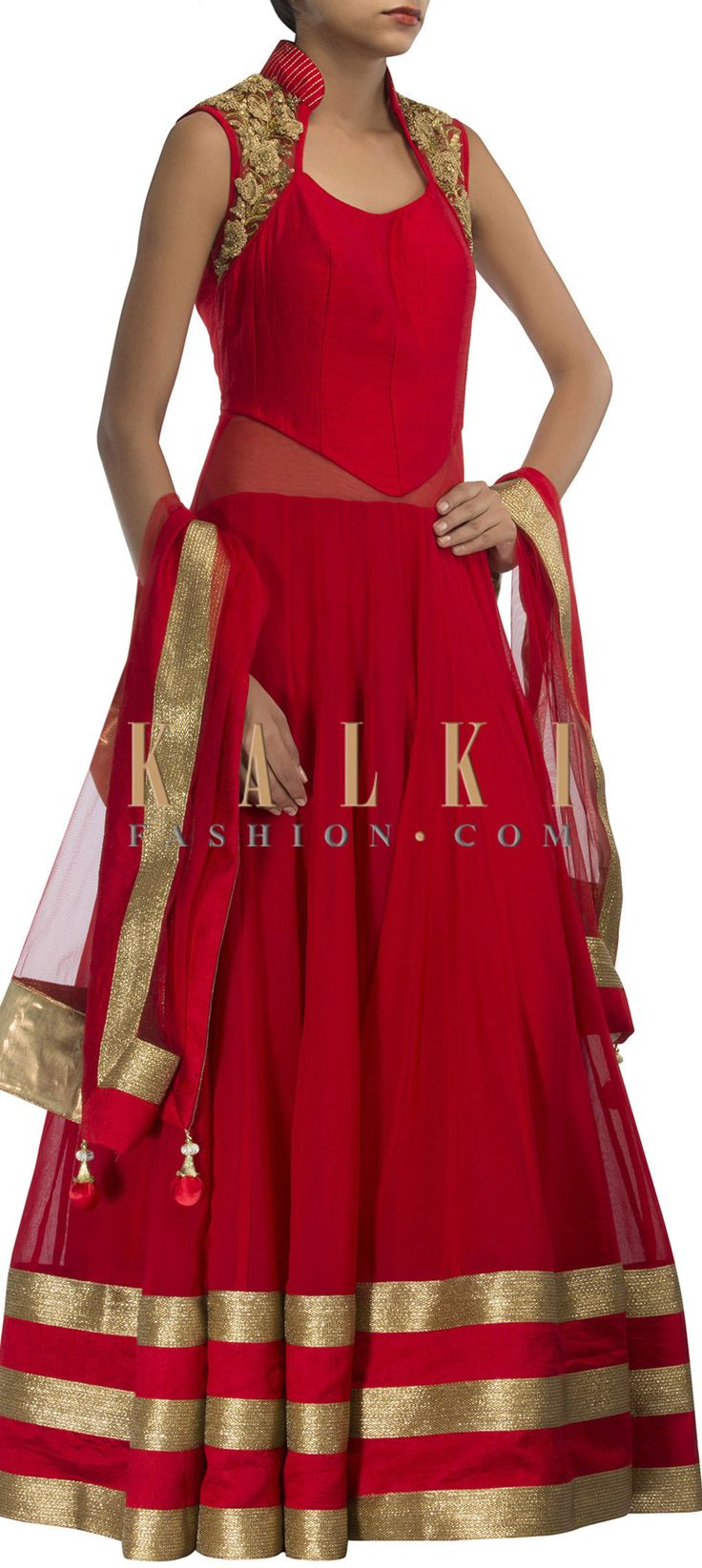 Buy Online from the link below. We ship worldwide (Free Shipping over US$100) http://www.kalkifashion.com/red-anarkali-suit-adorn-in-zardosi-and-sequin-embroidery-only-on-kalki.html