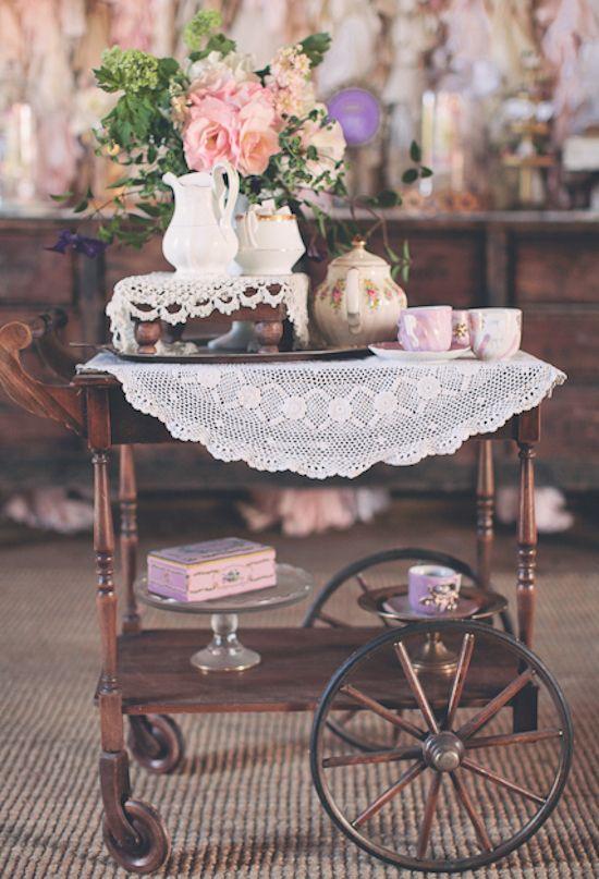 doily-covered tea cart