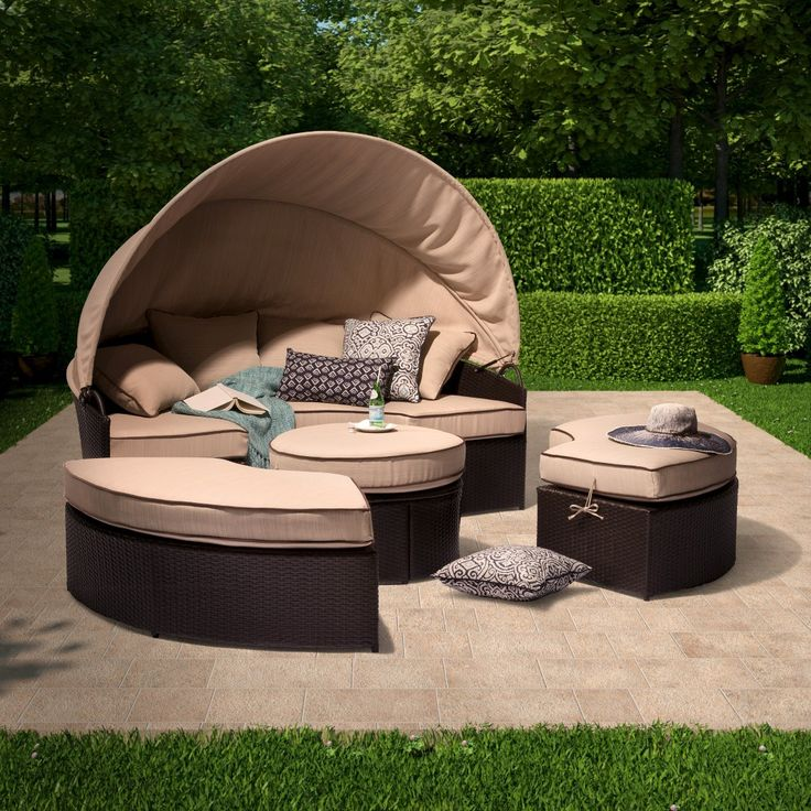 Harrison 4 Piece All Weather Wicker Patio Daybed With Canopy Set