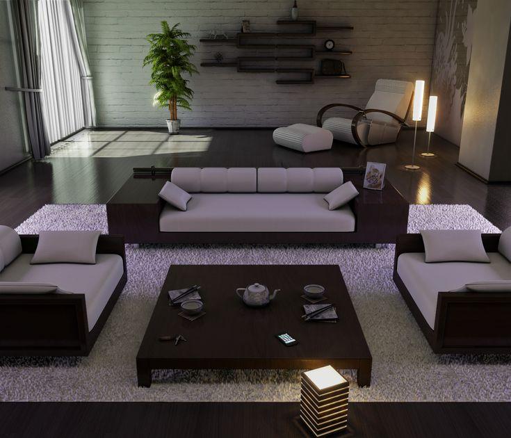 Sala de estar levemente japonesa.                                                                                                                                                                                 Mais