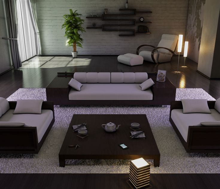 Sala de estar levemente japonesa.