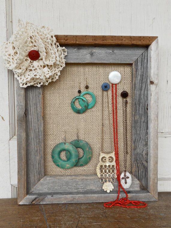 burlap jewelry holders