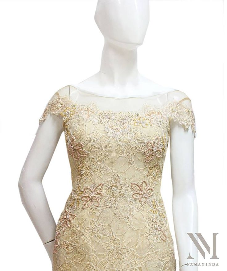Dreamy bead-works on embroidered French lace in pretty champagne tone. Delicately sparkling, this off the shoulder gown is timelessly elegant.