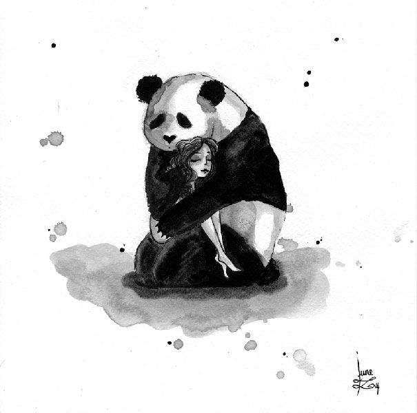 Pandamonium is a series of Indian ink drawings I started for Inktober (a drawing a day during October) last year. I never used ink before and I truly enjoyed it, for all the accidents that can happen. In fact, I like to draw by an accident!  You can see the progress between the first drawings of the series and the last ones.