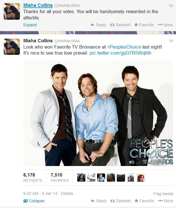 Misha on their win for best bromance at the People's Choice Awards.