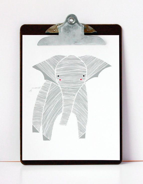 Elly Elephant Illustration  Safari Collection by Gingiber on Etsy, $20.00 Boy's Room Wall ArtSafari Collection, Elephant Prints, Darling Clementine, Hallways Wall, Elephant Drawing, Ellie Elephant, Illustration Safari, Nurseries Art, Elephant Illustration