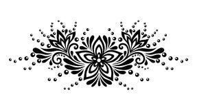 Piekny Kwiecisty Element Czarno Bialy Kwiatow I Lisci Projekta Element Flower Tattoo Lace Flowers Design Element
