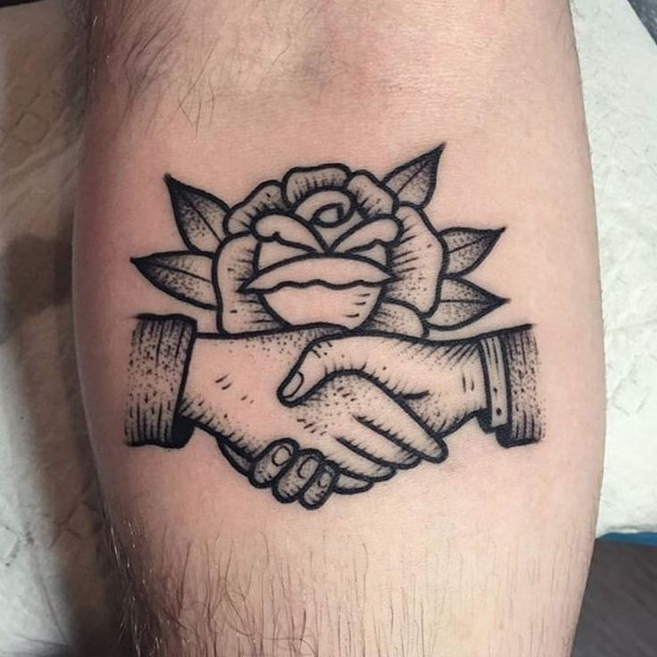 Shaking hands combined with a rose via @christianlanouette #ChristianLanouette #rose #hands #blackwork