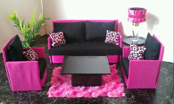 Barbie Furniture / Monster High / Bratz - Living Room Set - Hot Pink and Black Cheetah Sofa  and 2 Accent Chairs via Etsy