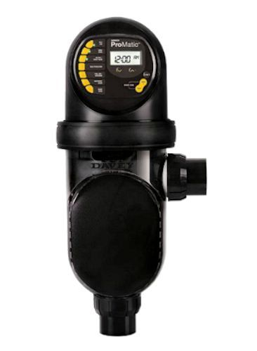 The Davey Promatic is a self cleaning all in 1 salt chlorinator designed for low speed ECO pool pumps.