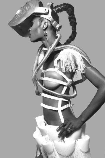 ROMERO BRYAN SS'11 'CAGEY MUMMY' dress. Photographer: SHAMAYIM, Model: Ashley Harris, Wardrobe Stylist: Tr3y Stylezz, Wardrobe Assistant: Sarah Nezamzadeh, Make-up: Leiloni Cooper, Hair: Jamal Edmonds