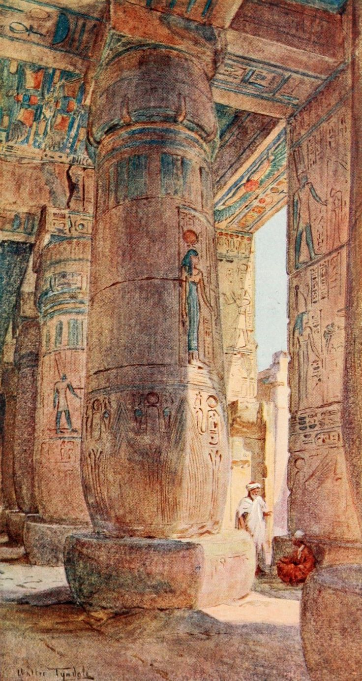 Tyndale, Walter (1855-1943) - Below the Cataracts 1907, In the temple of Ramses III, Medinet Habu. #egypt