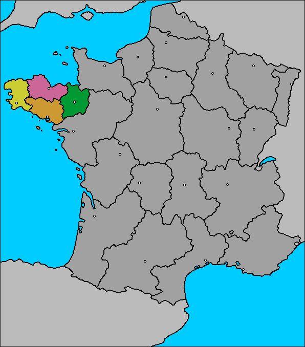 Mapa de la Región de Bretaña (Bretagne) - Rennes, Francia