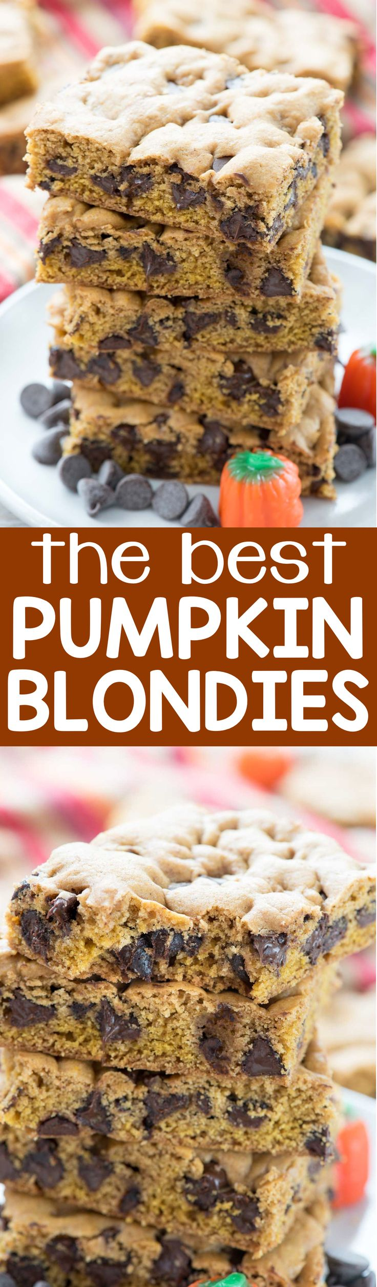 The BEST Pumpkin Blondie Recipe - an easy pumpkin cookie turned into a cookie bar and FULL of chocolate! These are fall heaven and perfect for a crowd or just because you want a blondie.
