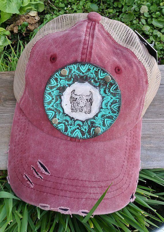 53d6baa7344 Steer Skull Trucker Hat for Her