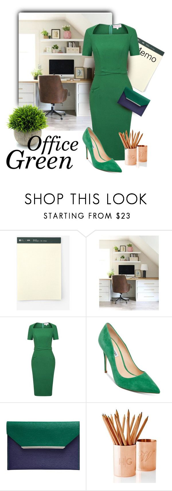 """Office Green"" by luvchildski ❤ liked on Polyvore featuring West Elm, Steve Madden, Lancel and Mark & Graham"