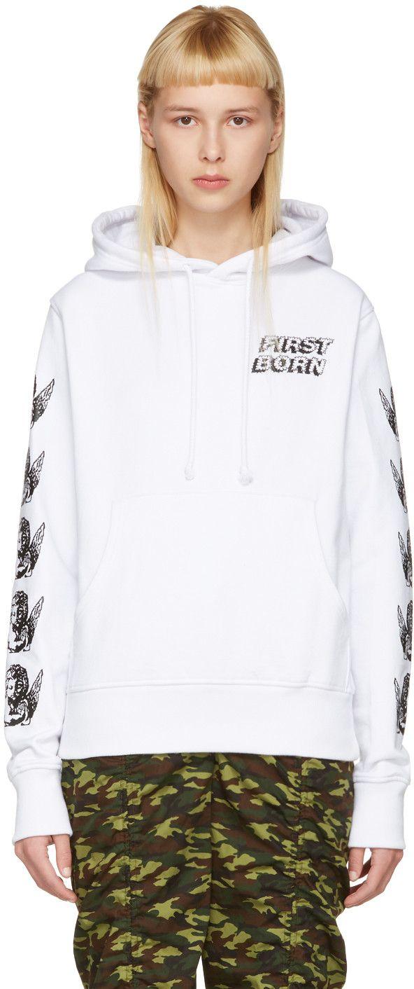 ASHLEY WILLIAMS White Cherub Hoodie. #ashleywilliams #cloth #hoodie