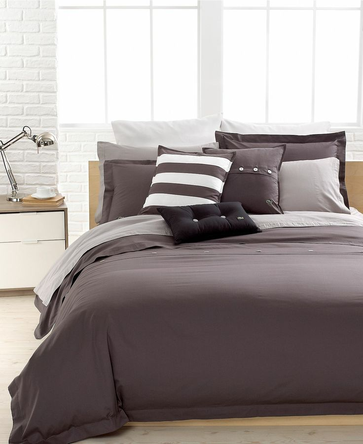 Lacoste Solid Grey Brushed Twill Comforter And Duvet Cover Sets
