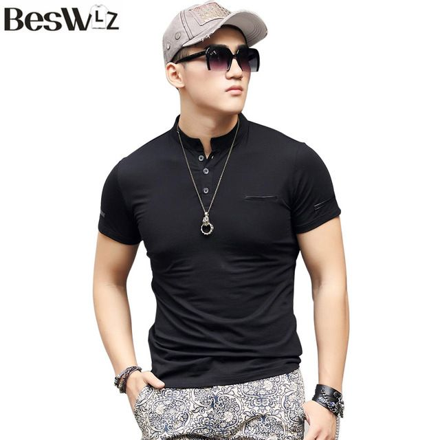 Beswlz Summer Men's T-Shirts Short Sleeve Mandarin Collar Cotton Slim Men T Shirts Business Casual Style Men Tops Tees 6951
