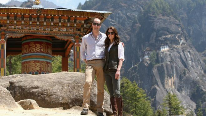 Duke and Duchess of Cambridge pose for photos on their way the Tiger's Nest Monastery, near Paro, Bhutan