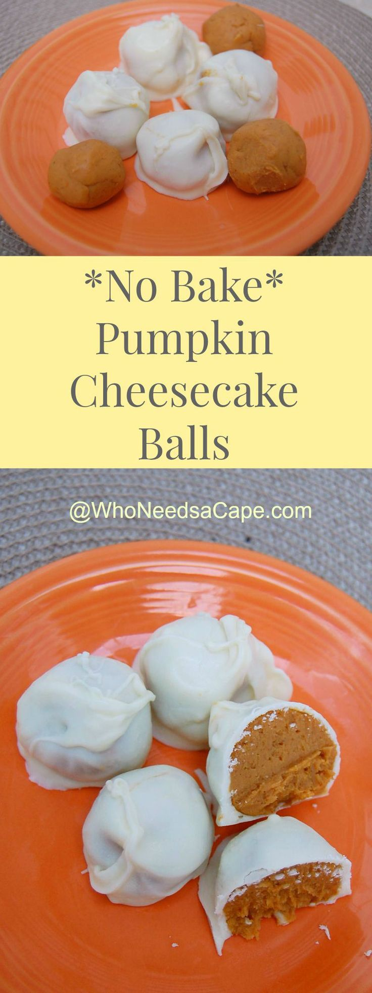 No Bake Pumpkin Cheesecake Balls - perfect pumpkin no bake treat!