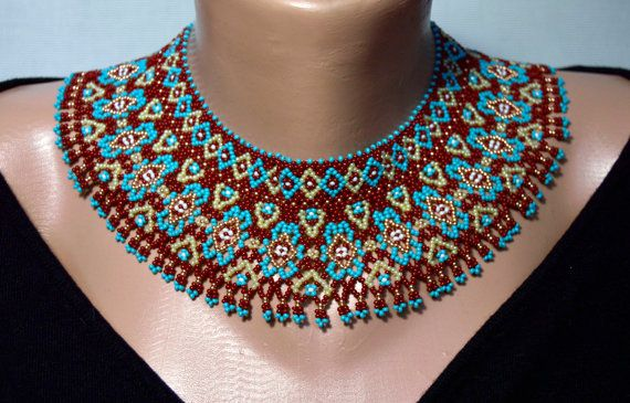 Exquisite Beaded Necklaces Seed bead necklace by NakaHandMadeShop