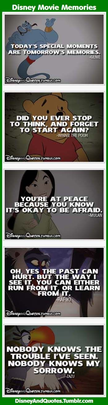Here are some of people's favorite quotes from their favorite Disney movies: Mulan, Winnie the Pooh, Rafiki, Zazu, and Genie.