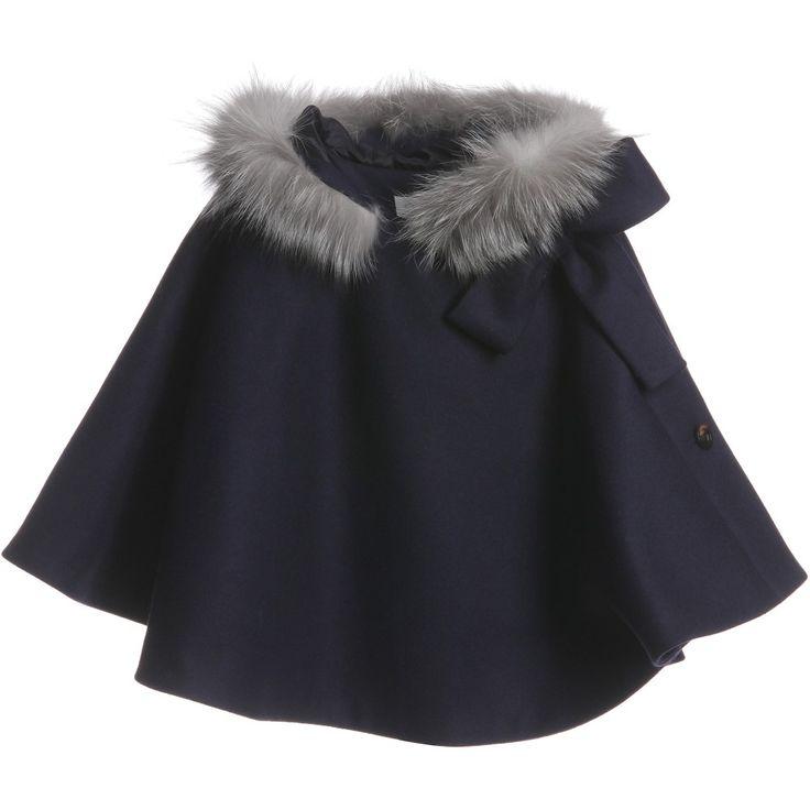 Dior Blue Fur Trim Cashmere and Wool Cape at Childrensalon.com