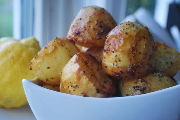 Bakte sitron poteter
