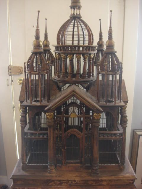 LARGE HAND CARVED WOOD VICTORIAN BIRD CAGE/HOUSE