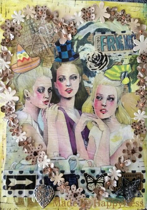 """""""Friends"""". Collage, paperflowers and acrylic painting"""