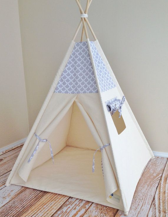 Modern Slate Bekko Natural Canvas Play Tent Teepee Playhouse with Roll Up Flap Window on Etsy, $148.17