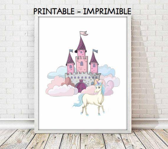 lamina unicornio, castillo princesa, lamina princesa, cuadro unicornio, laminas animales, animales infantiles, 5 TAMAÑOS INCLUIDOS