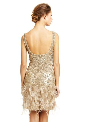SUE WONG Embellished Bodice Feather Dress <3 The Great Gatsby