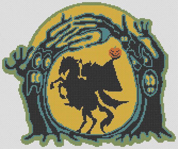 Headless HORSEMAN HALLOWEEN PDF Cross Stitch by RetroLOOMINOTIONS, £2.50