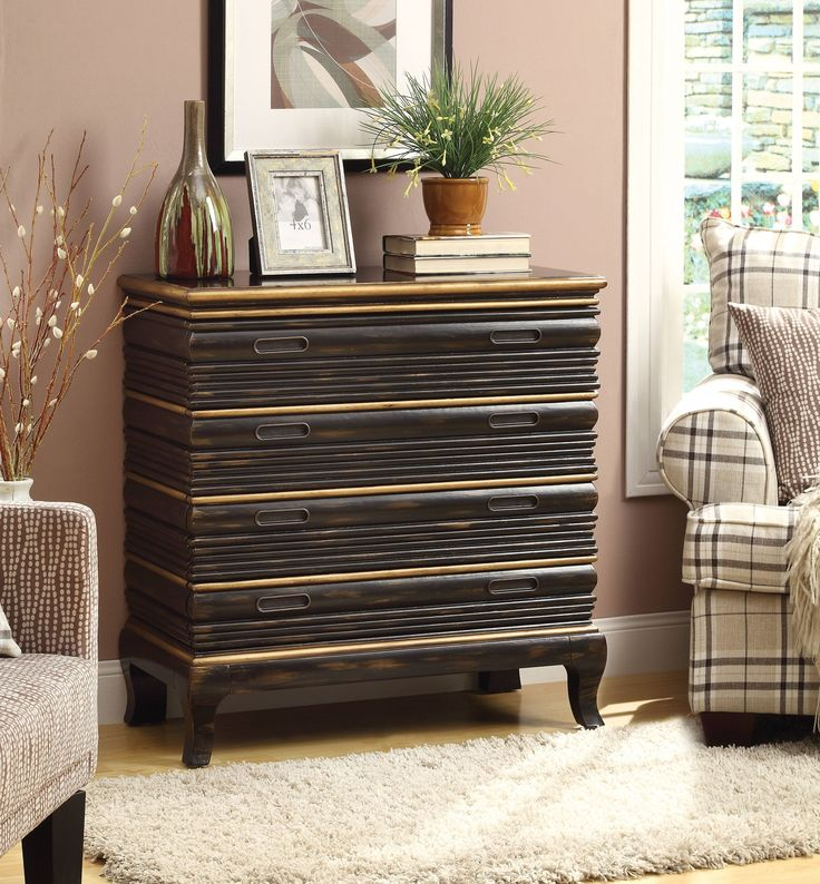 Black Brown & Gold 4 Drawer Dresser