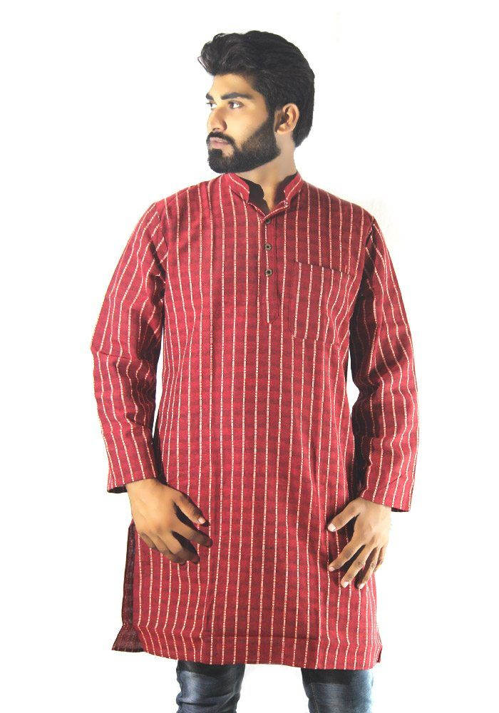 Long Kurta For Mens Red And White Lining