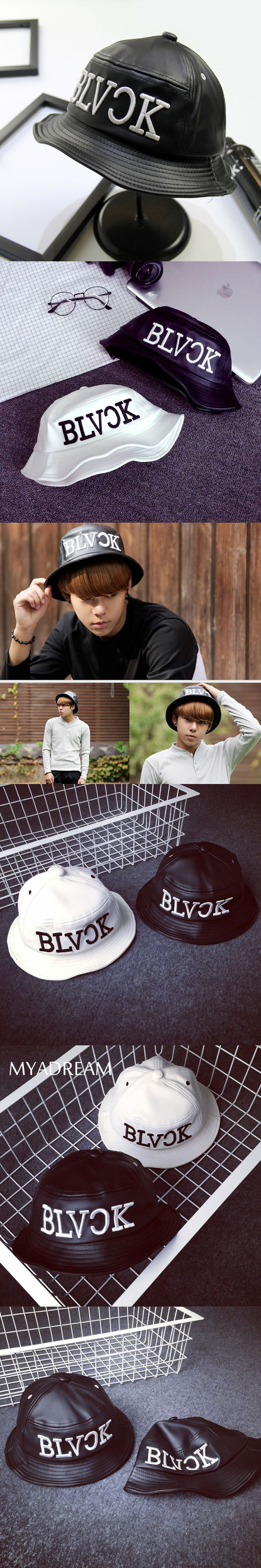 MYADREAM Black White Leather Bucket Hat Hip Hop Letter Embroidery Bape Chapeu Feminino Fishing Hat Couple Bucket Hats for Men