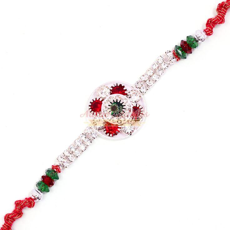 Classic White Red Diamond Jewel Sliver Base Rakhi